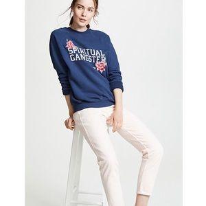 Sweaters - Spiritual Gangster Embroidered Navy Sweatshirt